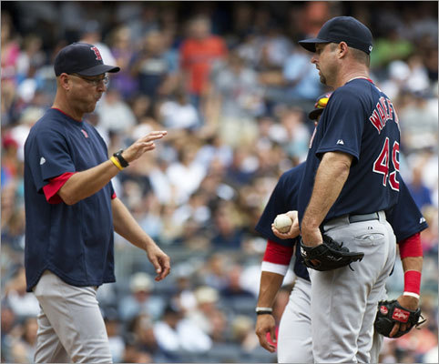 Red Sox manager Terry Francona yanked starting pitcher Tim Wakefield in the fifth inning of Game 1 of a doubleheader at Yankee Stadium Sunday. Wakefield allowed five runs and five hits and walked four.