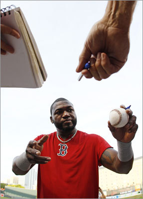 Sept. 26: Orioles 6, Red Sox 3 Red Sox designated hitter David Ortiz signed autographs for fans before the opener of the series at Canden Yards in Baltimore.