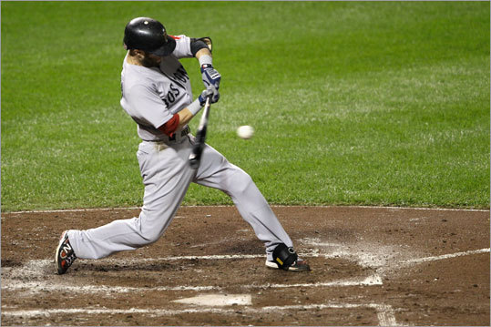 Dustin Pedroia hit an RBI single in the third inning.