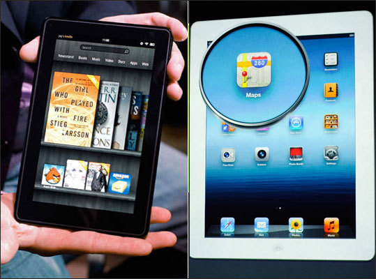Amazon.com unveiled its Kindle Fire tablet computer, taking aim at Apple's bestselling iPad. Now, Apple struck back with their new iPad. But how do the two stack up? Take a look at our side-by-side rundown of two tablets.