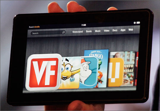 Software Kindle Fire: Amazon has painted over the rough surfaces of Google's Android operating system with a fresh and easy-to-use interface and tied the device closely to its own large and growing content library of movies, magazines, and music (shown). The new iPad: The iPad runs on Apple's operating system, which has long powered the iPhone and previous iPads. The latest software improved Safari performance, improved Airplay, iTunes home sharing &#8211 which allows for wireless streaming between devices , and its concentrated notification center.