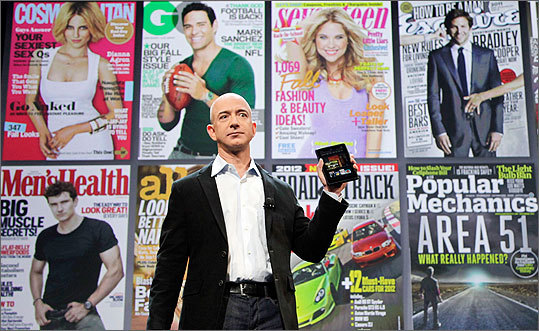 Price The tablet will sell for $199, compared with $499 for Apple's cheapest iPad. The Fire will also come with a 30-day trial of Amazon Prime, the company's $79-a-year membership service that includes streaming video and free two-day shipping . Left: Bezos with a projected display of magazines available on the Fire.