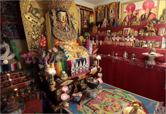 Tucked away in an unassuming Arlington rental house sits a replica of the most revered Buddhist statue in Tibet. The Jowo Rimpoche statue is hosted at the Dikung Meditation Center in Arlington, MA.