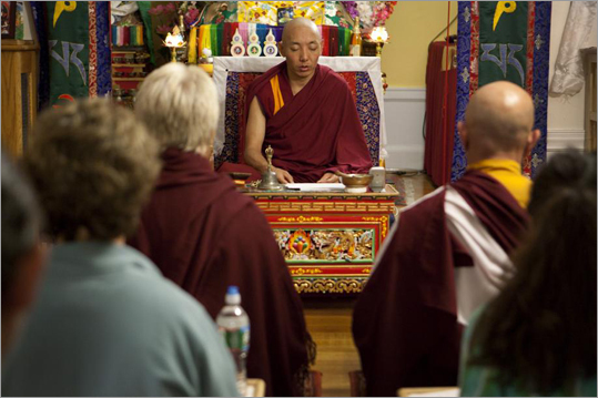 The replica, which arrived at the Drikung Meditation Center in Arlington three years ago from Nepal, is believed to confer the same blessings as the original, and was brought here for Tibetans who could not make the trip to their homeland, as well as Westerners. Khenpo Choepel Rinpoche leads the Green Tara meditation, a Tibetan Buddhist practice
