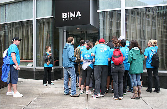 One of the first clues for some of the participants was at BiNA Osteria in downtown. Couples wearing the blue Diamond Dash shirts swarmed the city.