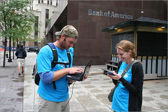 Other couples had a similar idea. Here Kasey Lombardo, right, and boyfriend Mike Beaver used a laptop to assist them with clues. The couple was planning on selling the ring if the computer and smartphone helped them get enough points.