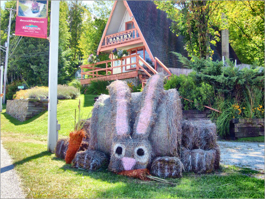 At left, the Sunup Bakery in Killington displayed its rabbit structure.