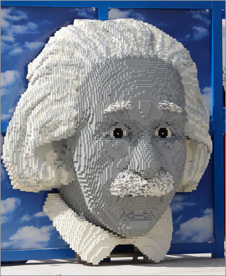 A bust of Albert Einstein on display at the theme park.
