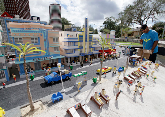 Legoland employee Ramiro Sanchez worked on a Lego scene of Miami's South Beach.