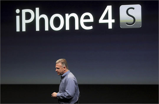 Apple's new iPhone 4S, which the company says is faster and also comes equipped with new voice controls, is on sale. Learn more about the device and other products the company recently launched including a card-making application and a 'Find my friends' application. Left: Phil Schiller, Apple's senior vice resident of worldwide product marketing, announcing the phone.