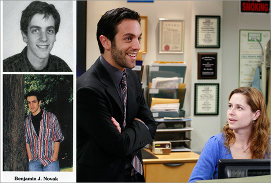 B.J. Novak Novak, son of writer William Novak, is also a writer and executive producer of NBC-TV's 'The Office' and plays the character Ryan Howard. He also appeared in a Quentin Tarantino film, 'Inglourious Basterds.' The Newton South High School graduate attended Harvard University. He visited his high school recently (at his mother's insistence) to speak. Novak was the editor-in-chief of The Roar, Newton South's student newspaper, from 1997-1998. He admitted to being behind the notorious Museum of Fine Arts audio tour prank when he was a Senior.