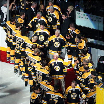 Members of the 1972 Bruins, the last team before this one to win the Stanley Cup, including Johnny McKenzie, Derek Sanderson, Ken Hodge, Johny Bucyk and Bobby Orr, were greeted by the current players during the pregame ceremony.