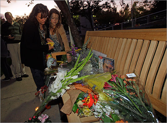 Well-wishers placed flowers on a makeshift shrine in Cupertino, Calif.