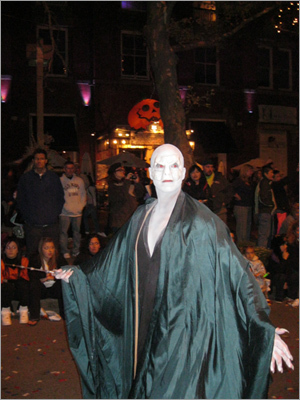 Harry Potter villain Voldemort roamed around town.