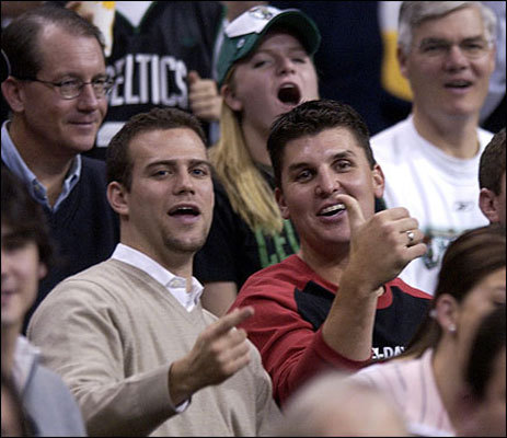 Seeking a closer Epstein courted Oakland A's All-Star relief pitcher Keith Foulke during a Celtics/Knicks basketball game at the Fleet Center in November 2003. At that moment both were reacting to a timeout slam dunk by the Celtics mascot.