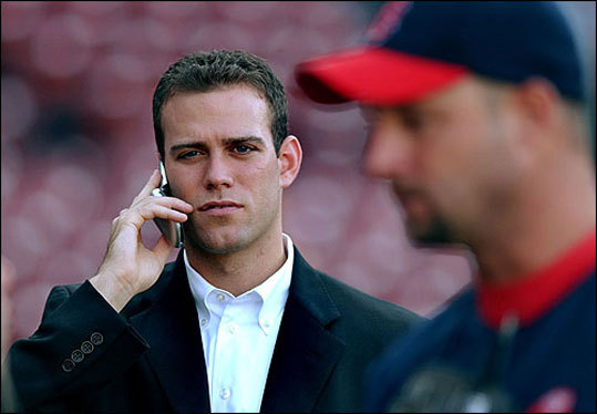 Baseball's youngest GM After becoming baseball's youngest general manager in 2002, Epstein chatted on his cell phone at Fenway Park during a team practice before a game against the Baltimore Orioles in September 2003.