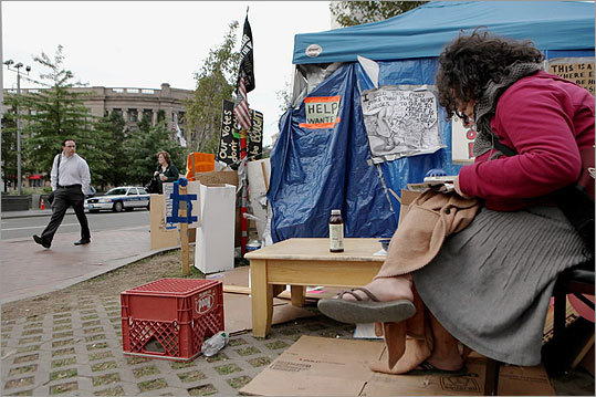 Artist Candice Anderson, 31, of Boston, camped out on the Greenway.