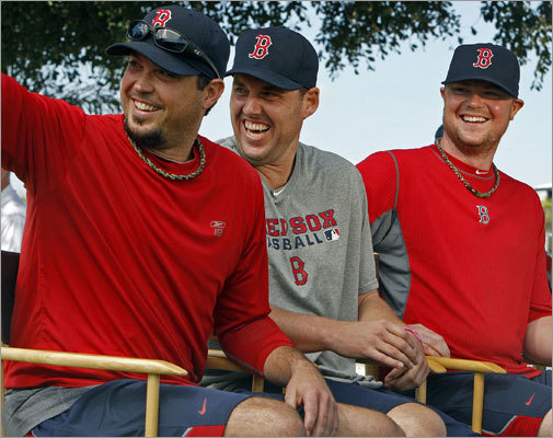 The pitchers club Sources said Josh Beckett, John Lackey, and Jon Lester (left to right) were joined at times by Clay Buchholz in the practice of ordering take-out fried chicken and biscuits, drinking beer and playing video games in the clubhouse during games. The practice began late in 2010, and the pitchers not only continued the routine this year, sources said, but they joined a number of teammates in cutting back on their exercise regimens despite appeals from the team's strength and conditioning coach.