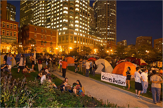 On Tuesday morning, officials did not want the protesters, who originally settled in Dewey Square, to occupy the space across Congress Street on the Greenway because it recently underwent a renovation project where expensive improvements were added, according to Elaine Driscoll, Boston police spokeswoman.