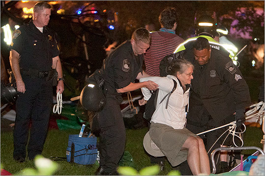Police removed the protester from the Greenway.