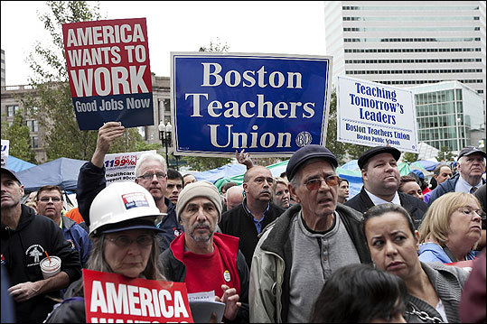Unions members and supporters gathered in Dewey Square to show their support for Occupy Boston. Occupy Boston was joined by several unions for a rally and march in Dewey Square in Boston on Thursday.