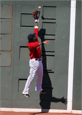 Red Sox left fielder DARNELL McDONALD, leaping in vain for a double by Matt Angle that knocked in two runs in the third inning of a 6-5 Baltimore victory, Sept. 19, 2011 -- 'I was just trying to catch the ball, man, and make the play and help my pitcher out. I thought I was going to catch it, actually. I just needed a couple inches more. It's a layup when I needed a dunk. It's hard to play the Wall. Look at all those things out there. The Monster is not very friendly. It doesn't give. There's no pad on that. It's like going across the middle against the Ravens. I'm a little sore today. The sun was the worst I've ever seen out there. Sunglasses didn't help. Try going out there with sunglasses someday and stare at the sun for 15 seconds. You can't see a thing.'