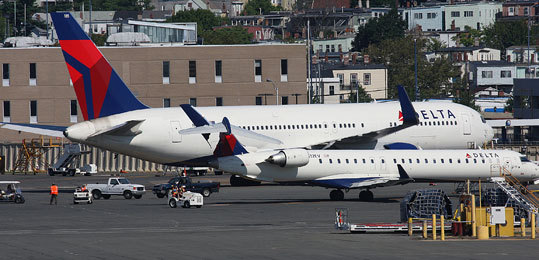 9. Boston Logan Airport Logan International Airport, with its harrowing history of near misses between aircraft on busy runways, became in 2010 the nation's first airport to introduce an elaborate new system of lights and radar designed to prevent such collisions and close calls. The new system, which cost $3.6 million, is expected to be installed at 23 airports nationwide in the next few years, federal aviation and transportation officials said. Left: Delta planes damaged in July on Logan's taxiway.