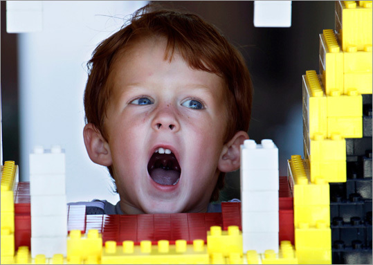 Greyson Middleton, 3, growled in the playground at Legoland.