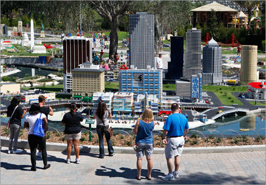 Visitors looked at a model of Miami Beach.