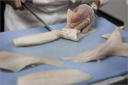 Bertucci's executive chef Jeff Tenner prepared fish samples being considered as replacements for fillets formerly used in the chain's Baked Merluzzo. Globe-sponsored DNA testing showed the dish contained hake instead of the cod described on the restaurants' menus.