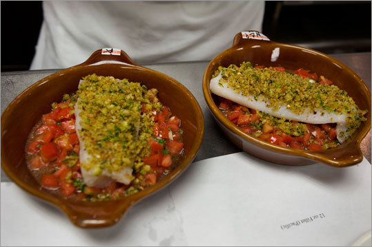 The tasting panel unanimously agreed that Pacific cod, from Boston's North Coast Seafoods, was the best option. It is now being used in the Baked Merluzzo dish.
