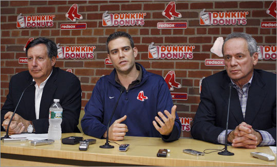 Theo Epstein answered questions at an end-of-season news conference.