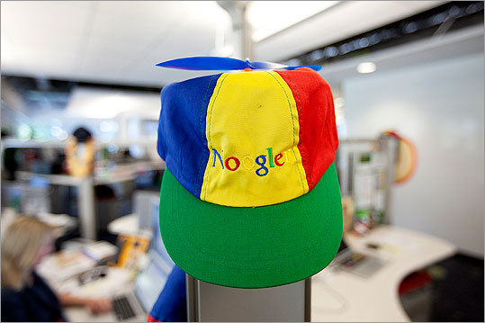The 'Noogler' cap, a play on words with the company's name, is given to all new employees. Google employees call each other Googlers.