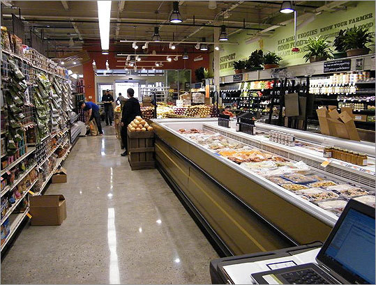 A look through the produce section towards the front entrance.