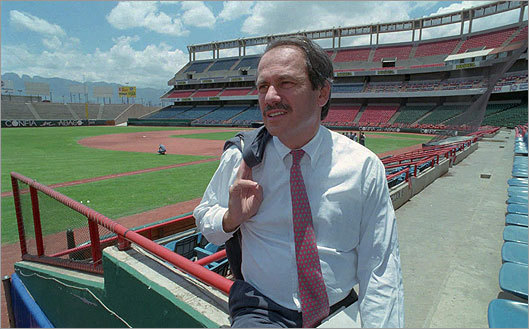 In Baltimore, San Diego, and Boston, Lucchino has made the internationalization of baseball a priority. In 1996, he worked to arrange Major League Baseball's first regular season game in Mexico. Left, Lucchino surveyed the field in Monterrey Stadium in Mexico before a Padres-Mets game.