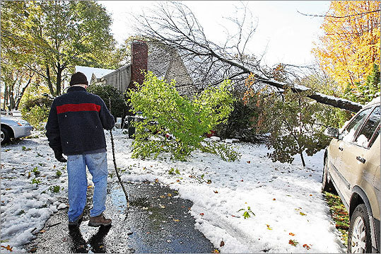 In the aftermath of the storm, with fall foliage still visible on a tree, Dan Carney was in his yard on Massachusetts Avenue on Sunday. A tree fell onto his garage, just missing a car near it.