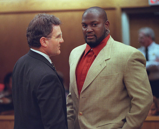 Mo Vaughn Red Sox first baseman Mo Vaughn (right) was arrested and charged with drunken driving in January 1998. According to the State Police, Vaughn hit a car parked in the breakdown lane of Interstate 95 in Norwood and flipped his pickup truck in the process. Two state troopers called to the scene testified that Vaughn reeked of alcohol and flunked a series of field sobriety tests: he mangled a recitation of the alphabet, stumbled when asked to balance on one foot, and veered off a straight line while trying to take nine steps heel-to-toe. A jury of four men and two women acquitted Vaughn of drunken driving in Dedham District Court. Vaughn said he was 'relieved by [the] innocent verdict and has learned a valuable lesson from this incident.'