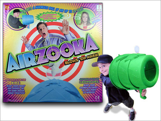 Airzooka Price: $19.99 Shooting water at someone or using a slingshot is so last year. Airzooka is the way to go nowadays. The toy gun lets you shoot an air blast across a room.