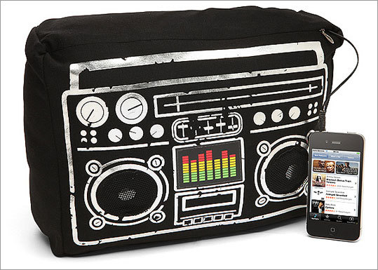 Boombox Speaker Cushion Price: $19.99 Play your mp3s on this cushion-speaker combo. The equalizer in the front even lights up.
