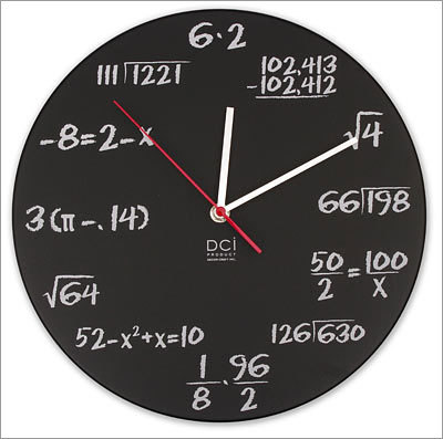 Pop Quiz Clock Price: $26.99 Endear yourself to a mathlete with these hourly equations. Just don't point out the rounding issues at 9 o'clock.