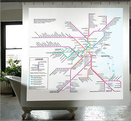 MBTA Shower Curtain Price: $29 Help your directionally challenged friends learn the city with this MBTA shower curtain. It even has the Commuter Rail.