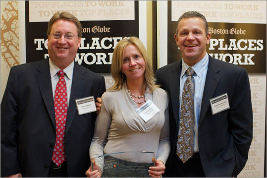 From left: Dave Sanford, Beverly Morgan, and Steve Kasmouski of Winter, Wyman, ranked No. 19 for small employers.