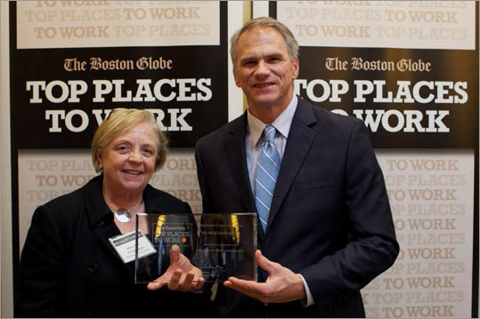 From left: Mary Ann O'Callaghan and Paul Mydelski of RE/MAX Leading Edge, ranked No. 7 for small employers.