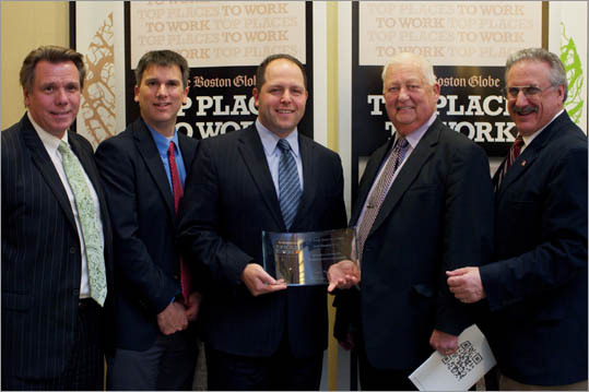 From left: Tim Knowlton, Chris Haraden, Al Becker, Dick Cahill, and Denis Lilla of Jack Conway & Co., ranked No. 19 for medium employers.