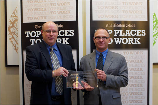 From left: Kirk Hager and Nick Mirabile of Harvard Vanguard Medical Associates, ranked No. 15 for large employers.