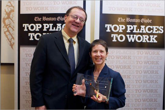 From left: Fred Covelle and Sandy Goldsmith of New England Law Boston, ranked No. 6 for small employers.