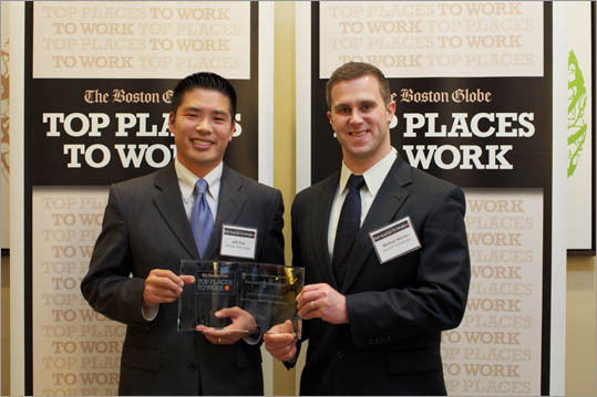 From left: Jeff Chan and Michael Warner of Randstad Technologies, ranked No. 31 for small employers.