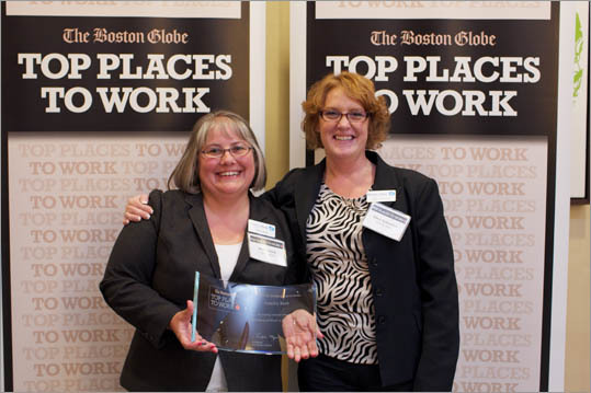 From left: Malisa Reid and Ellen Aubuchon of Fidelity Bank, ranked No. 37 for small employers.