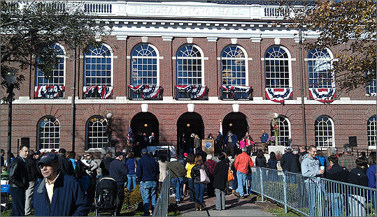 Needham celebrated the 300th anniversary of its founding Saturday with an elaborate ceremony re-dedicating its recently renovated Town Hall. On hand to bless a symbolic cornerstone was a historic bible used by George Washington during his inauguration. Residents gathered on the green in front of the renovated Town Hall, where patriotic bunting hung from the second story windows.