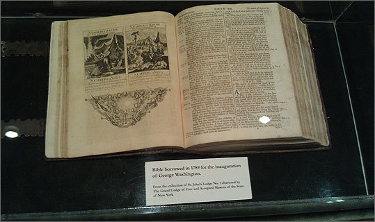 The Washington Bible never leaves the sight of three specially-chosen Masons from the New York Lodge, who accompany it all times. The book was almost destroyed on 9/11 while it was on display just blocks from Ground Zero, but a protective case prevented damage to the precious relic.